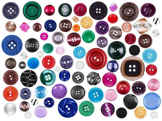 Wiele przycisków na białym tle