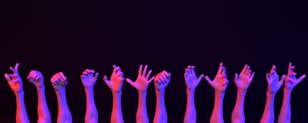 Wiele rąk w świetle neonu na ciemnym tle, ilustracja 3d