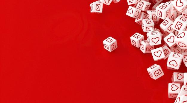 Wiele rozrzuconych kostek z ikonami sieci społecznościowych. ilustracja 3d