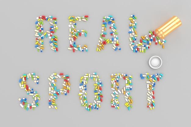 Wiele rozrzuconych tabletek w formie słowa