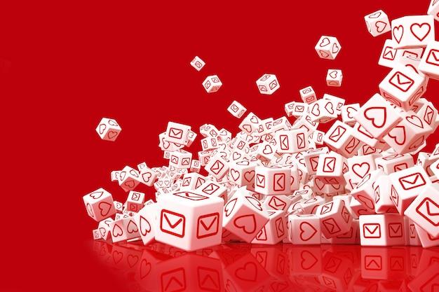 Wiele spadających bloków z ikonami społecznościowymi na twarzach. ilustracja 3d