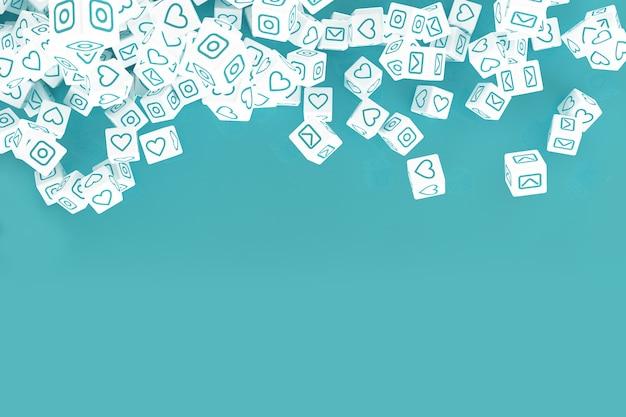 Wiele spadających kostek z ikonami działań w mediach społecznościowych