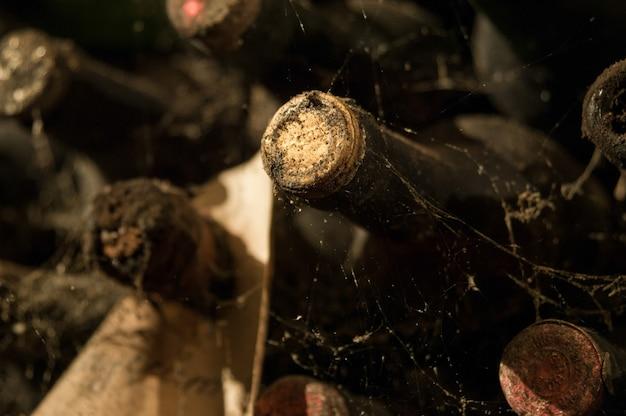 Wiele starych butelek wina w sieci w zbliżeniu piwnicy z winami