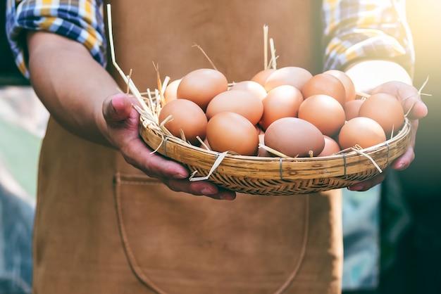 Wiele świeżych jaj kurzych w wiklinowym koszu, które rolnicy zbierają od kur w fermach kurcząt