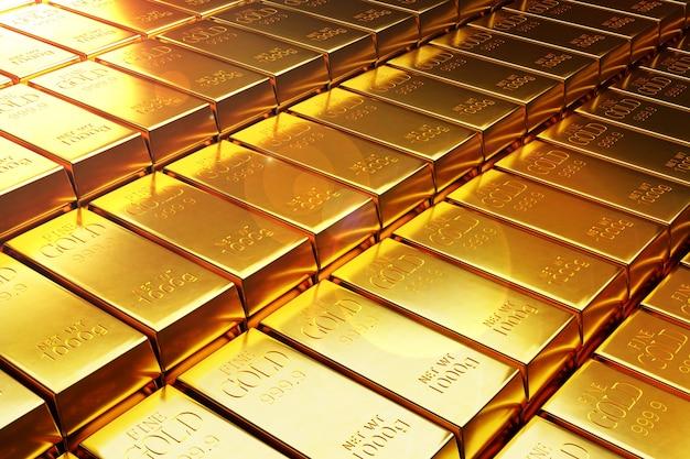 Wiele sztabek złota lub ilustracji 3d sztabki