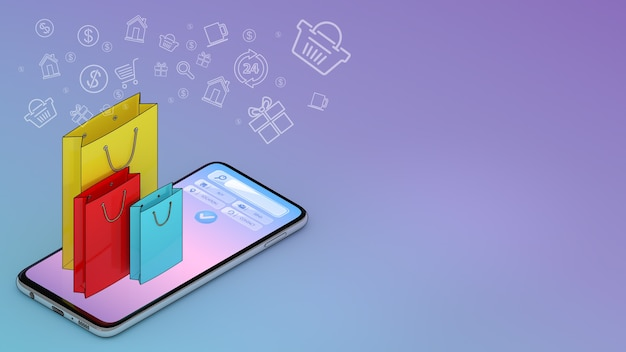 Wiele toreb na zakupy pojawiło się na ekranie smartfona
