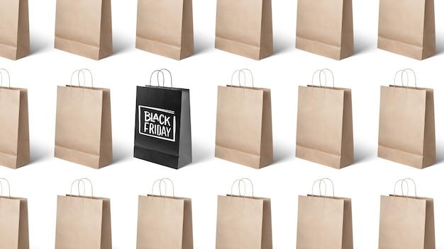 Wiele toreb papierowych, czarny piątek