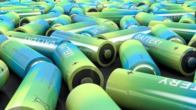 Wiele używanych kolorowych baterii.
