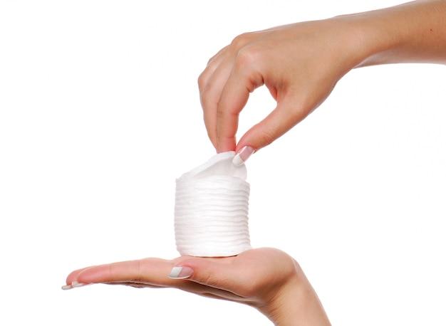 Wiele wacików bawełnianych. leczenie uzdrowiskowe.