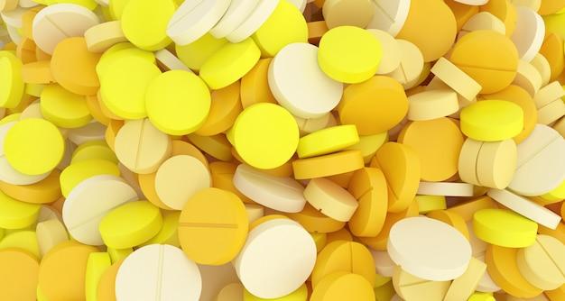 Wiele zbliżenie żółte tabletki, ilustracja 3d