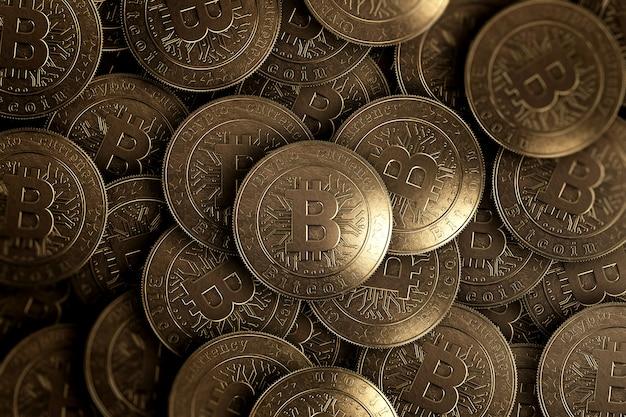 Wiele złotych monet to bitcoiny z góry.