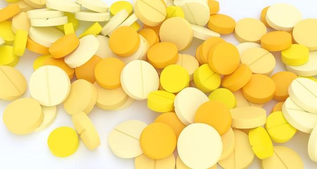 Wiele żółtych tabletek rozrzuconych na białej podłodze z bliska, ilustracja 3d
