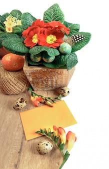 Wielkanocna granica z pomarańczowymi kwiatami i wiosennymi dekoracjami