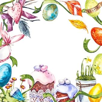 Wielkanocna ramka z jajkami w gnieździe na jasnym pastelowym tle.