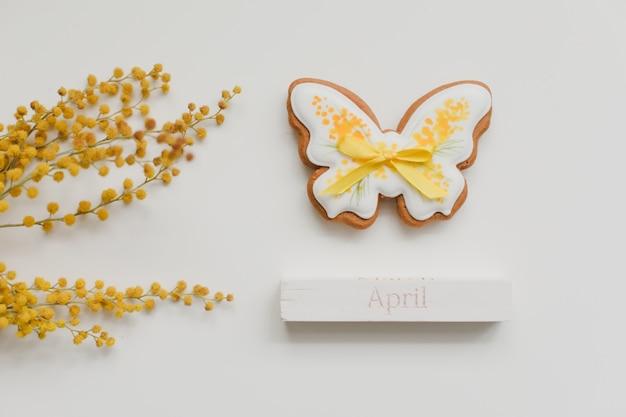 Wielkanocne ciasteczka pierniki i kwiat mimozy na białym tle. wiosna, wiosna, kwiecień, koncepcja wesołych świąt. widok z góry