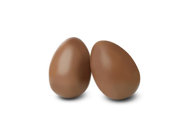 Wielkanocne jajka czekoladowe na białym tle