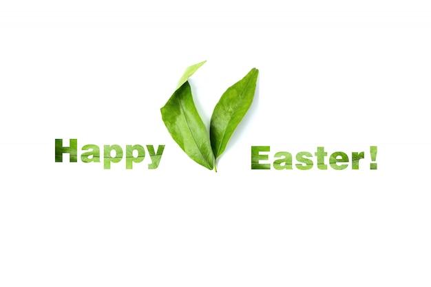 Wielkanocne uszy królika. liście mandarynki. wesołych świąt wielkanocnych.