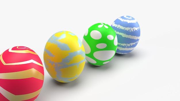 Wielkanocni Jajka, 3d Rendering Dla Wakacyjnej Zawartości. Premium Zdjęcia