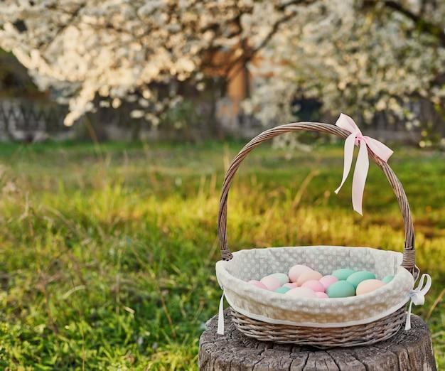 Wielkanocny kosz na tle kwitnąć drzewa. szablon wielkanocny kartkę z życzeniami. pisanki i kwiaty. wielkanocna dekoracja z jajkami. koncepcja wakacje wiosna z miejsca kopiowania. kwitnący ogród