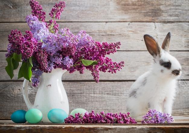 Wielkanocny królik z bzem na drewnianym tle