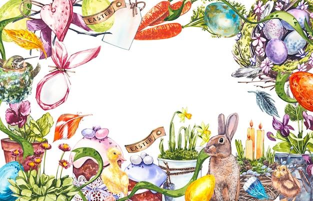 Wielkanocny plakat i szablon transparent z pisankami w gnieździe na jasnym pastelowym tle.