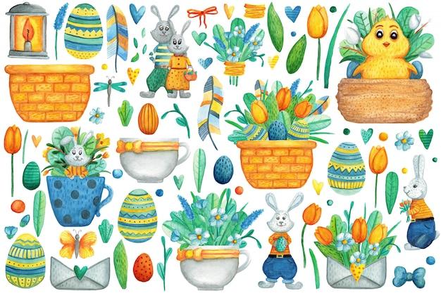 Wielkanocny zestaw akwareli. śliczne ilustracje na święta wielkanocne.