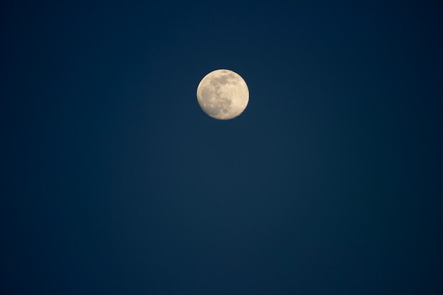 Wielki księżyc na niebieskim niebie