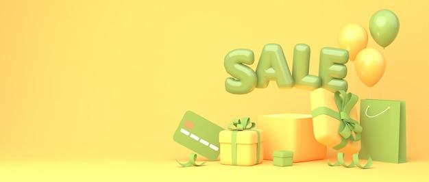 Wielki projekt transparentu rabatowego z frazą zielony balon sprzedaż na żółtym tle z pudełkami prezentowymi