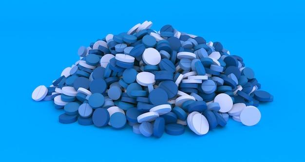 Wielki stos niebieskich tabletek na niebieskim tle z bliska, 3d ilustracji