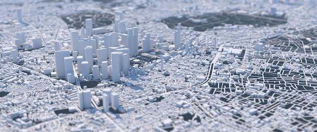 Wielkie miasto przyszłości ilustracja z zniekształconą perspektywą