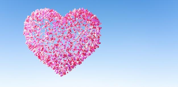 Wielkie miłosne serce złożone z wiązki miłosnych balonów. walentynki i wesele projekt koncepcja tło. renderowanie 3d.