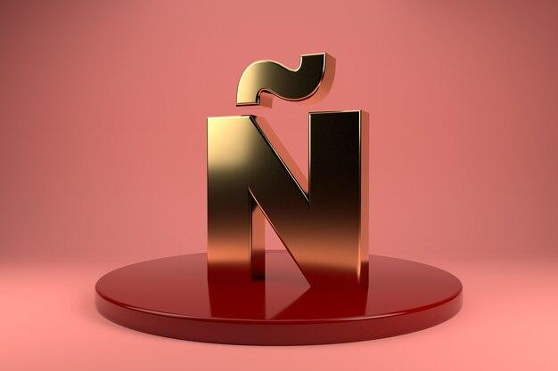 Wielkie złote litery n na stojaku