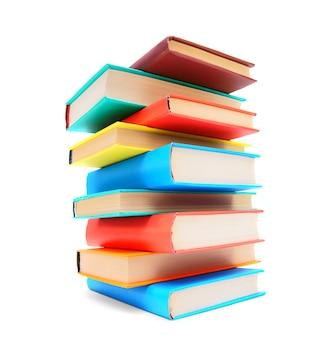 Wielobarwne książki. na białym tle.