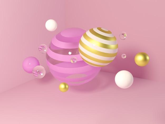 Wielobarwne ozdobne kule. abstrakcjonistyczna 3d ilustracja z realistycznymi sferami