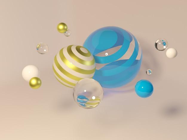 Wielobarwne Ozdobne Kule. Abstrakcjonistyczna 3d Ilustracja Z Realistycznymi Sferami Premium Zdjęcia