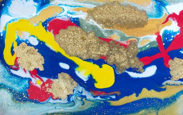 Wielobarwny marmur marmurkowy, płynna konsystencja złotego marmuru.