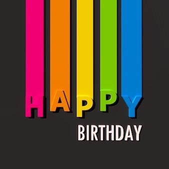 Wielobarwny znak na czarnej powierzchni z napisem happy birthday