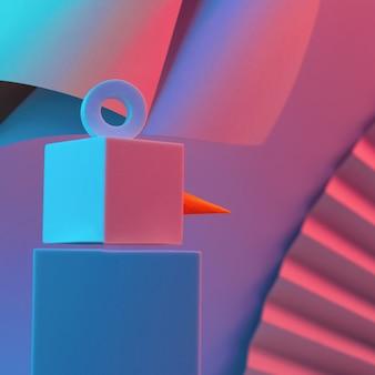 Wieloboczny bałwan z kostek oświetlony jest neonowym światłem