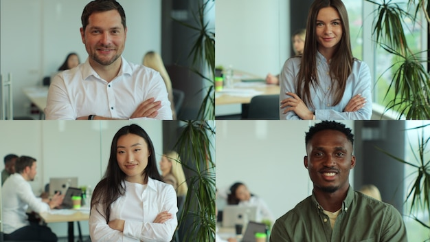 Wieloekranowy montaż młodych mężczyzn i kobiet w miejscach pracy kolaż różnych wieloetnicznych pracowników