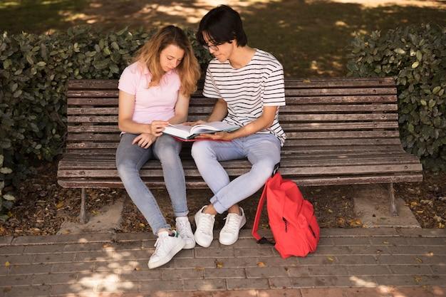 Wieloetniczne nastolatki studiujące na ławce