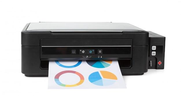 Wielofunkcyjna domowa drukarka na białym tle