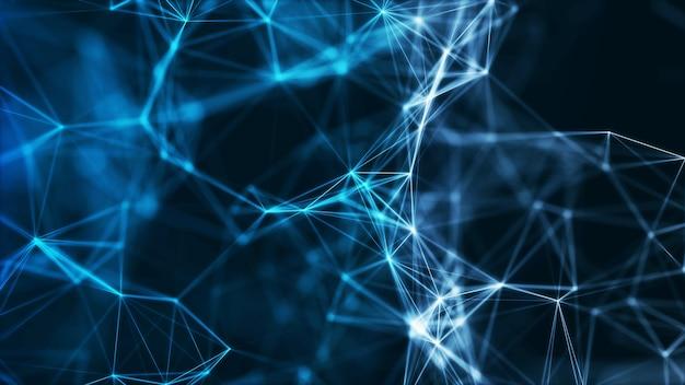 Wielokątne niebieskie low poly abstrakcyjne kształty koncepcja połączenia sieciowego dużych danych