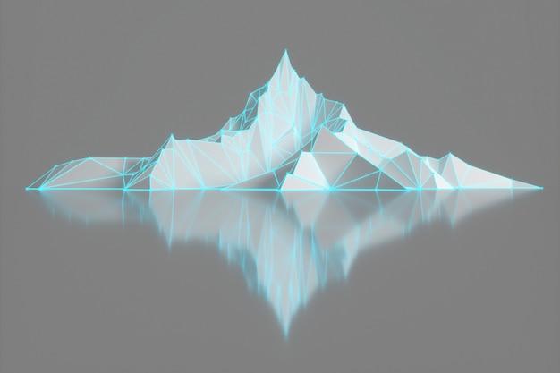 Wielokątne zdjęcie szczytów górskich ze świecącym podświetleniem