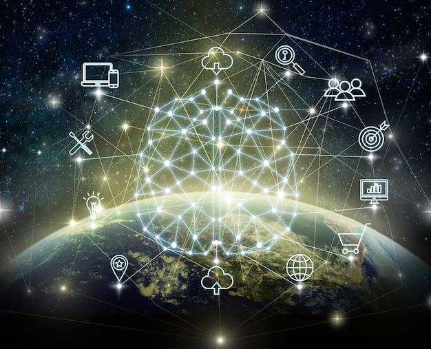 Wielokątny kształt mózgu sztucznej inteligencji z różnymi ikonami inteligentnego miejskiego internetu rzeczy