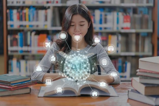 Wielokątny kształt mózgu sztucznej inteligencji z różnymi ikonami