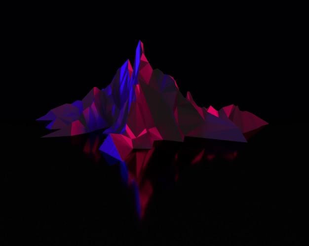 Wielokątny obraz górskich szczytów ze świecącą, podświetlaną ilustracją 3d