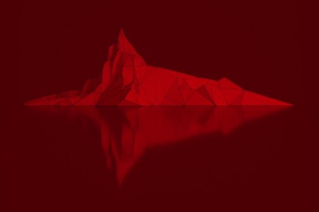 Wielokątny obraz szczytów górskich ze świecącą, podświetlaną ilustracją 3d