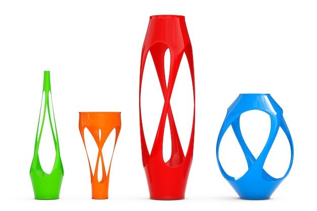 Wielokolorowe abstrakcyjne wazony ceramiczne na białym tle. renderowanie 3d