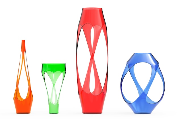 Wielokolorowe abstrakcyjne wazony szklane na białym tle. renderowanie 3d