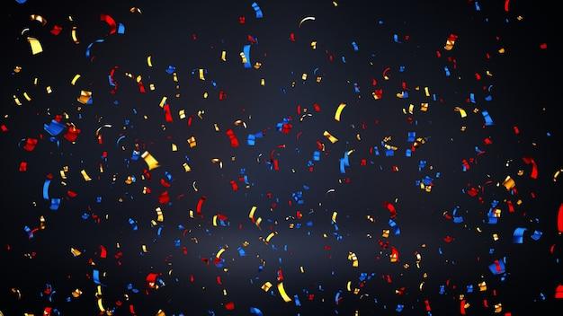Wielokolorowe konfetti błyszczące złoto 3d